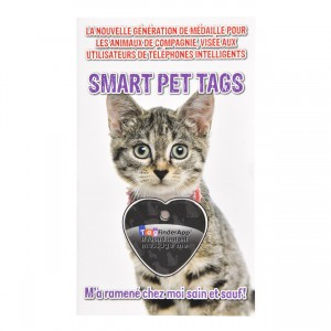 Smart Pet Tag - French - Black Heart