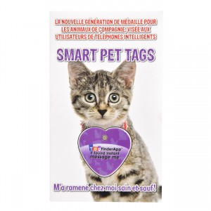 Smart Pet Tag - French - Purple Heart