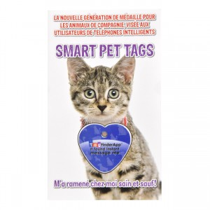 Smart Pet Tag - French - Blue Heart