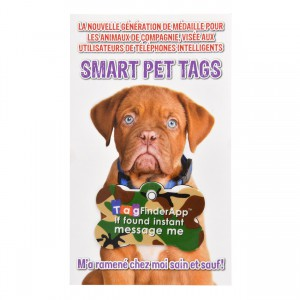 Smart Pet Tag - French - Green Camo Bone