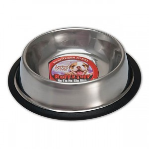 Ruff N' Tuff Traditional Stainless Steel No-Tip No-Slip Dish - 16 oz