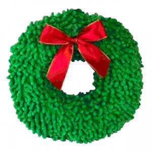 X-Mas Plush Dog Toy - Wreath - 8""