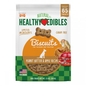 Healthy Edibles Grain Free Dog Biscuits - Peanut Butter & Apple Recipe - 12 oz