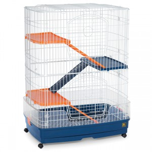 "4-Story Small Animal Cage - Blue/Orange - 31"" x 21"" x 41"""