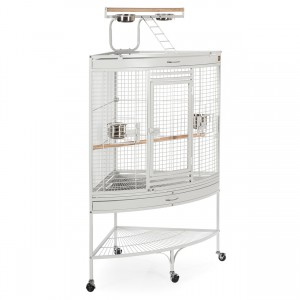 "Corner Bird Cage with Playtop - Pewter White - 37"" x 27"" x 63"""
