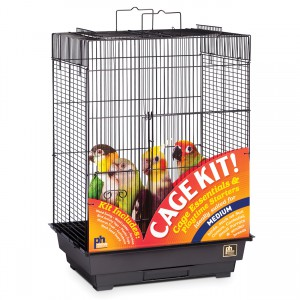 "Square Roof Bird Cage Kit - Black - 18"" x 14"" x 23"""