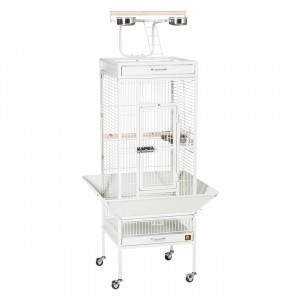 "Wrought Iron Select Bird Cage with Playtop - Chalk White - 18"" x 18"" x 57"""