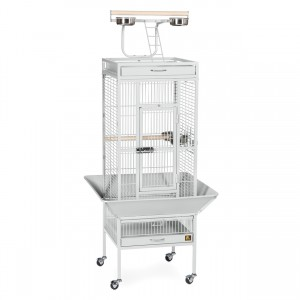"Wrought Iron Select Bird Cage with Playtop - Pewter White - 18"" x 18"" x 57"""