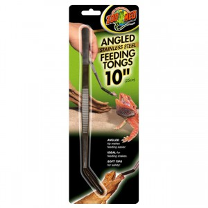"""Angled Stainless Steel Feeding Tongs - 10"""""""
