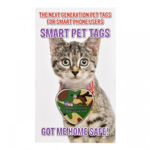 Smart Pet Tag - English - Green Camo Heart