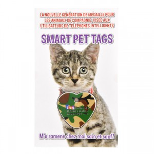 Smart Pet Tag - French - Green Camo Heart