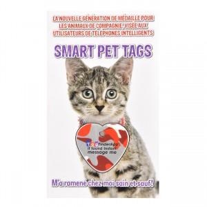 Smart Pet Tag - French - Red Camo Heart