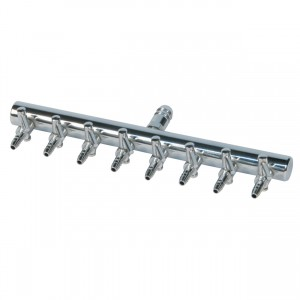 """Air Manifold T Style - 3/8"""" Inlet - 8 Valve Outlet"""