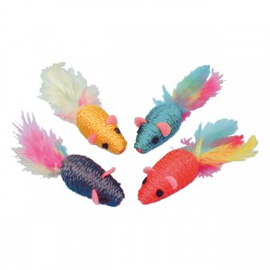 Sisal Mice with Feathers - 4 pk