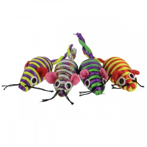 Nylon Rope Mice - 4 pk