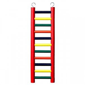 11-rung Wood Bird Ladder - Multi-color