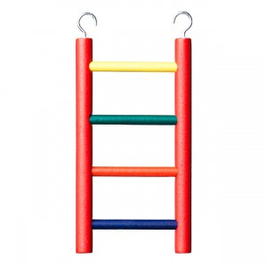 5-rung Wood Bird Ladder - Multi-color