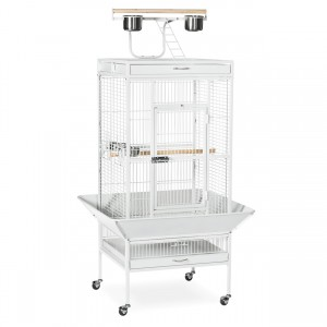 "Wrought Iron Select Bird Cage with Playtop - Chalk White - 24"" x 20"" x 60"""