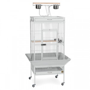 "Wrought Iron Select Bird Cage with Playtop - Pewter White - 24"" x 20"" x 60"""